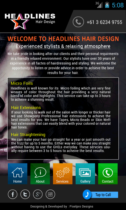 Headlines Hair Design- screenshot