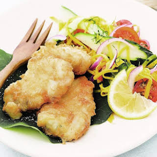 Fish In Coconut Batter With Green Mango Salad.
