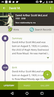 Screenshot of Ancestry
