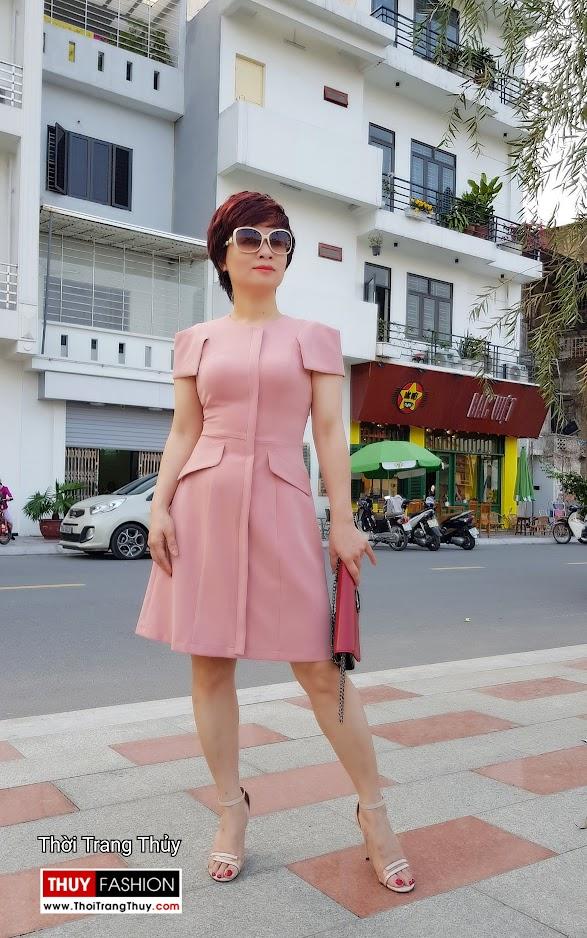 Váy xòe chữ A mặc công sở và dạo phố V700 thời trang thủy quảng ninh