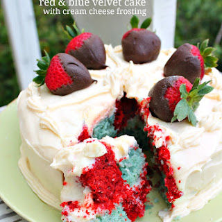 Checkered Red & Blue Velvet Cake with Cream Cheese Frosting