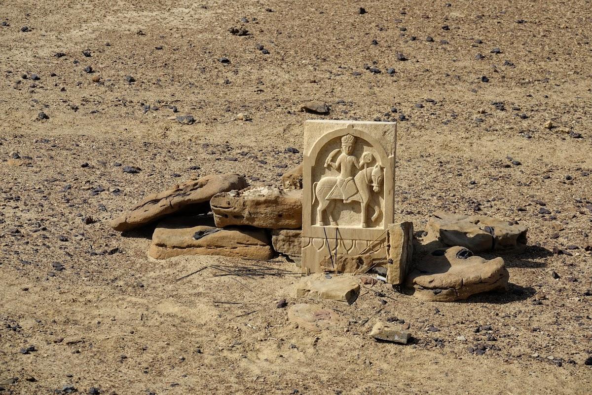 India. Rajasthan Thar Desert Camel Trek. Old tombstone centuries old