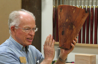 Photo: Phil Brown really likes his cedar vessel, but said that the Creative Craft Council did not select it to be in the show.