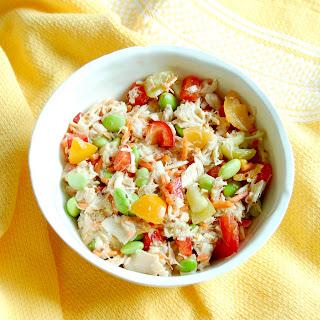 Quick & Easy Tuna Edamame Salad with Red Wine Vinaigrette.