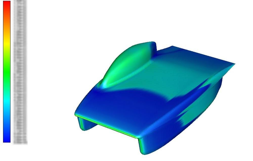 ANSYS - Турбулизация потока воздуха вдоль корпуса автомобиля (вид сверху)