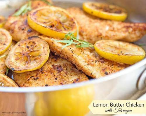 "Lemon Butter Chicken with Tarragon ""This skillet lemon butter chicken comes together..."
