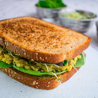 Mashed Chickpeas & Avocado Sandwich.