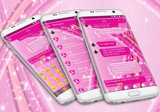 SMS Messages Sparkling Pink Theme 5.0 screenshots 1