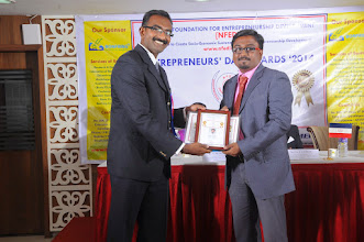Photo: Guest of Honour Mr. Bobby A. Mathew Issuing Young Entrepreneur Award to Mr. E. Vel Bala, Chief Executive Officer, E Vel India Pvt. Ltd., Madurai