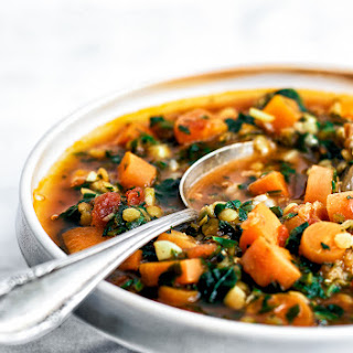 Carrot, Red Lentil, & Spinach Soup.