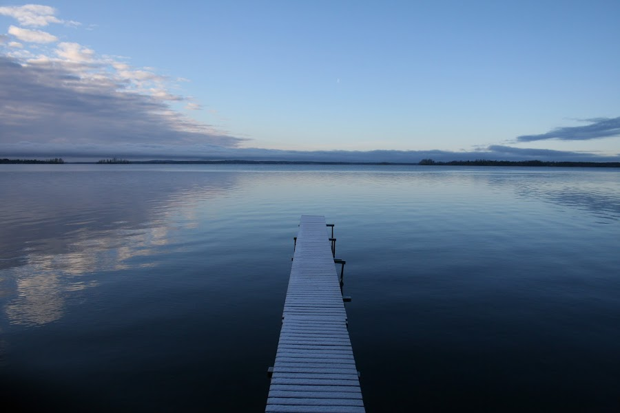 Blue Pier by Hemmo Vattulainen - Landscapes Beaches ( blue, blue pier, autumn, pier, lake, beach )