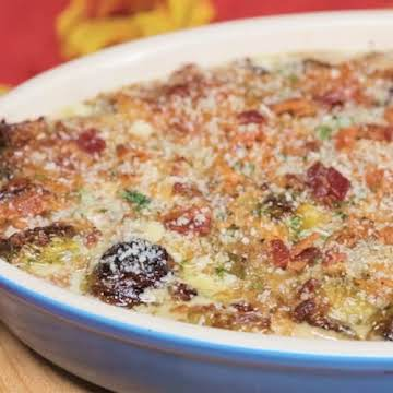 Cheesy Bacon & Brussels Sprouts Bake ~ Recipe