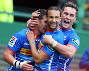 Ruhan Nel, Dillyn Leyds and Dan Kriel of the Stormers during the Super Rugby match between DHL Stormers and Brumbies at DHL Newlands on April 20, 2019.
