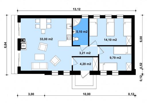G248 - Budynek rekreacji indywidualnej - Rzut parteru