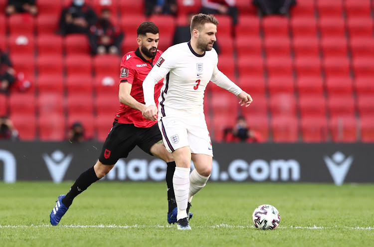 England's Luke Shaw in action with Albania's Elseid Hysaj