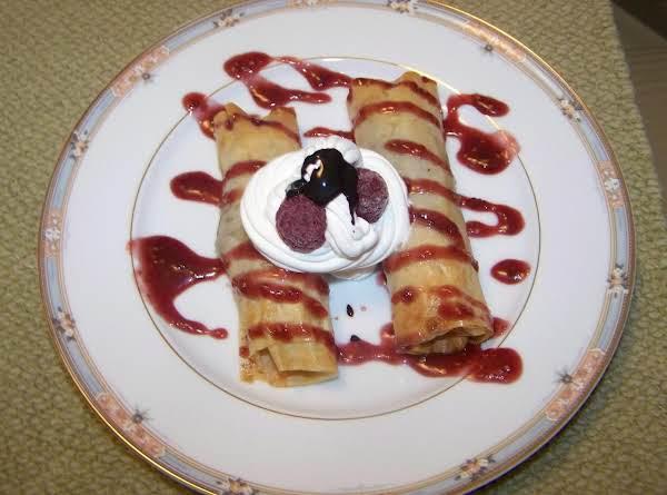 Chocolate Egg Rolls W/ Raspberry Cream Sauce Recipe
