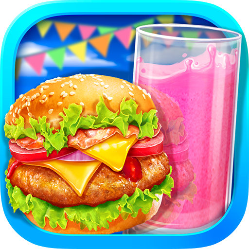 Summer Waterpark Food - Hamburger & Icy Juice Fun