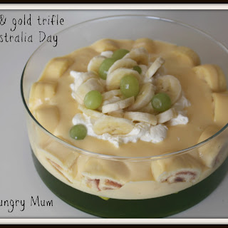 Easy green and gold Australia Day trifle.
