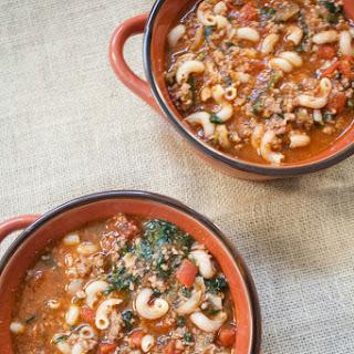 Beef, Tomato and Macaroni Soup.