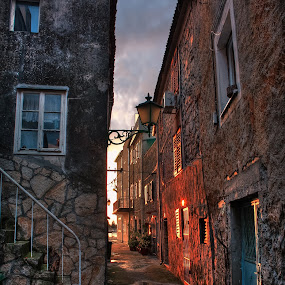 Sunset Colours in Old Street by Branko Meic-Sidic - City,  Street & Park  Street Scenes ( hystorical, oldtown, hdr, sunset, beautiful, street, croatia, stonehouses, colours, pirovac )