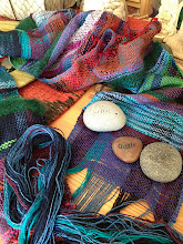 Photo: a student's first woven scarf waiting to learn how to twist fringes