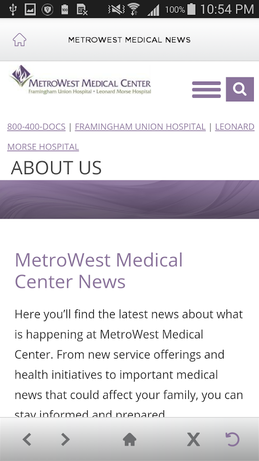 MetroWest Medical Center- screenshot