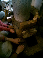 Photo: Building the Barrel Support (courtesy Gray) and insulating the firebox