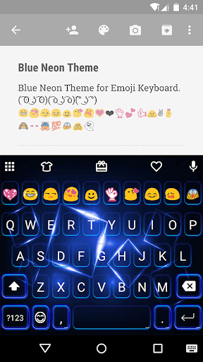 Blue Neon Emoji Keyboard Theme