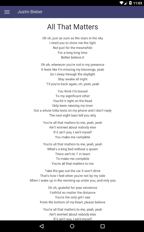 Justin Bieber Lyrics - Android Apps on Google Play