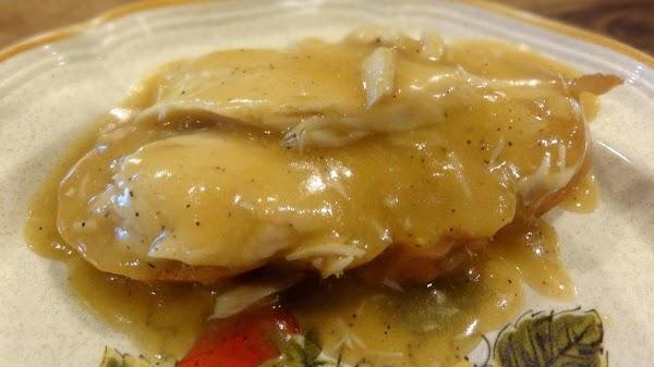 Tonight's dinner: Turkey slices simmered in gravy.  Mmmmm! :)