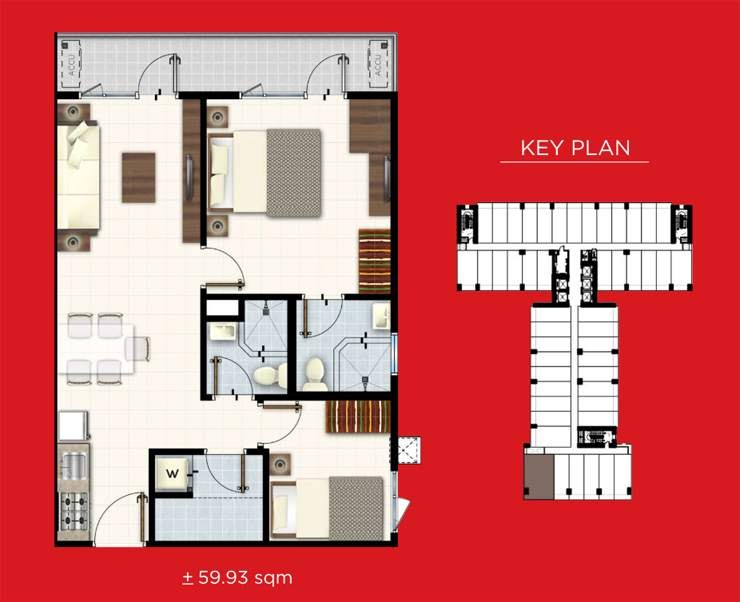 Red Residences, Chino Roces, Makati 2 bedroom with balcony