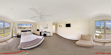 Photo: Beach House 2 - Upstairs Master Bedroom/Ensuite www.escapeatnobbys.com.au