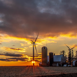 The 20th Century Iowa Homestead by Diane Ebert - Landscapes Sunsets & Sunrises ( #iloveruraliowa, garwin, landscape, windmills/turbins sunset,  )