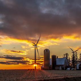 The 20th Century Iowa Homestead by Diane Ebert - Landscapes Sunsets & Sunrises ( #iloveruraliowa, garwin, landscape, windmills/turbins sunset,  )