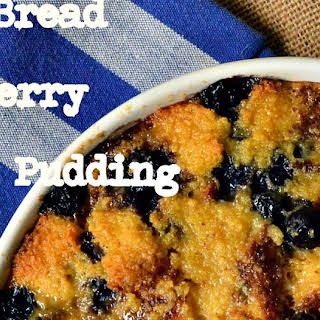 Corn Bread Bread Pudding with Blueberries and a Peach Topping.
