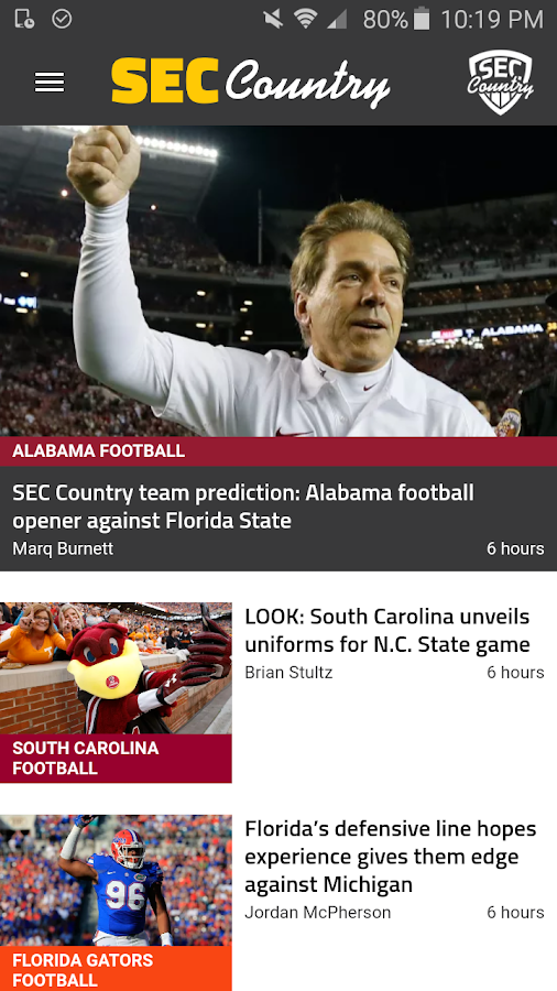 SEC Country:Team-Specific News- screenshot