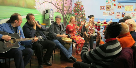 Photo: Barry Dobrin, Gary Glazner, David Azarch, Stine Moen, and Tara Kacak provided great entertainment for our annual Holiday Party.