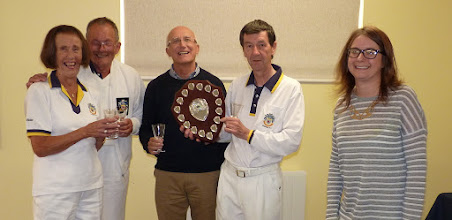Photo: Tuesday Triples Champions- Ken's Killers June Lay, Paul Crabtree, Michael Thompson, Ken Walker-Kath Boorman & Shirley Dudley absent. (with Lucy Cheeseman from Warners)
