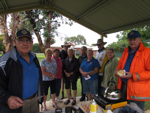 Geoff Eather, Marlene Nelson, May Boxsell, Neil Kemmis, Elaine Eather, Wes Watson, Nellie Lincoln, Phil Bower, Sue Hollingworth and Ron Boxsell at the weclome breakfast in Boggabri on Saturday.