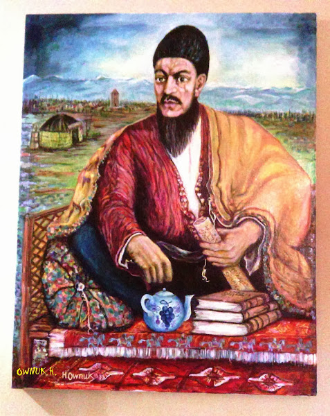 Photo: Magtymguly Pyragy (Makhtumkuli Firagi) in his birth location Hajygowshan in Turkmensehra (Painted by H. Ownuk - Toronto - 2013