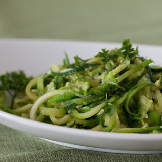 Spiralized Zucchini Pasta with Creamy Avocado Sauce.
