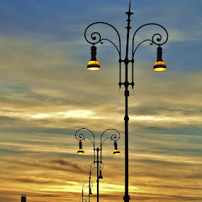 STREET LAMPS by Wojtylak Maria - Artistic Objects Other Objects ( illuminated, sky, colorful, town, evening, street lights,  )