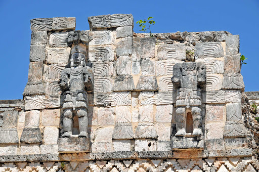 chichen itza.jpg - These statues are among the Mayan ruins at Chichén Itzá, which thrived from around 600 A.D. to the 1200s.