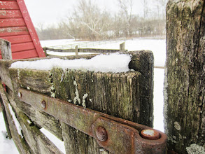 Photo: Wooden gate in the snow at Carriage Hill Metropark in Dayton, Ohio.