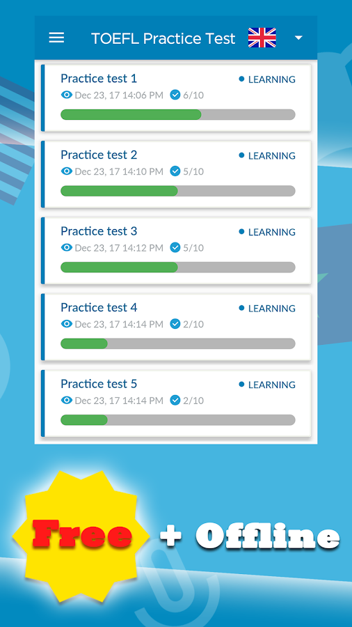 TOEFL Practice Test- screenshot