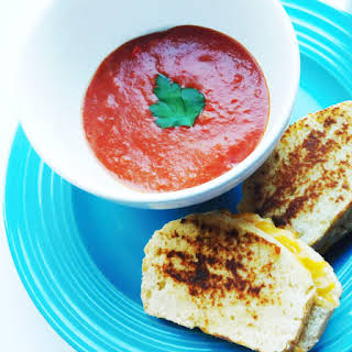 Tomato & Roasted Red Pepper Soup with Pimento Grilled Cheese.