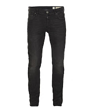 Photo: Print Cigarette Jeans>>  UK>http://bit.ly/SXh1GH US>http://bit.ly/SXh3OQ  Our slimmest fit, a neat fitting square top block that sits low on your hips with a skinny leg. Comes in a washed black denim with black leather patch, signature ramskull profile stitch and gunmetal finished shanks and rivets.