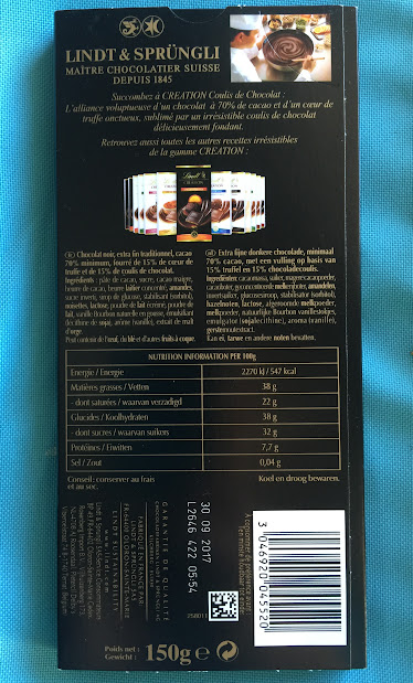 70% lindt creation bar back