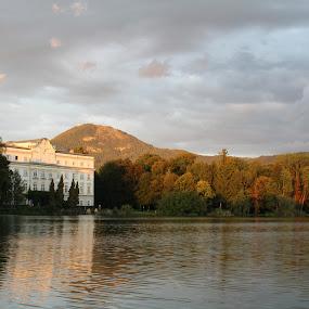Schloss Leopoldskron by Ashley Rolland - Landscapes Travel ( sound of music, mountain, salzburg, filming, sunset, movie, germany, lake, historic, austria, schloss leopoldskron,  )