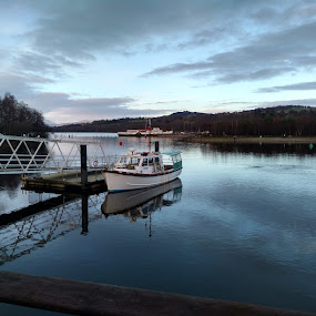 The lonely boat in Loch Lommond by Anastasis Agathokleous - Transportation Boats ( landscape photography, nature, winter, clouds, water, scottish, boat, scotland, mountain, blue, waterscape, cloudscape, loch, lakes, skyporn, lake, landscape )